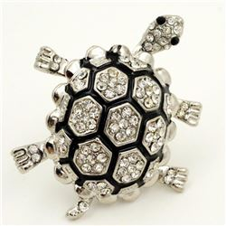 Adorable Czech Crystal Articulated Adjustable Turtle Ring