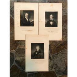 19thc Steel Engravings, United States Presidents, Van Buren, Harrison & Tyler