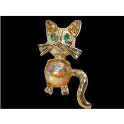 Mid Century Vintage Jelly Belly Rhinestone Cat Brooch