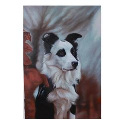 21stc Photorealism, Border Collie Oil Painting