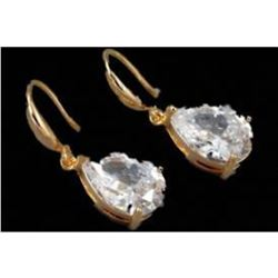 18kt Gold Plated Clear Cubic Zirconia Wedding Bridal Drop Earrings