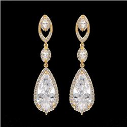 18kt Gold Plated Cubic Zirconia Bridal Drop Earrings