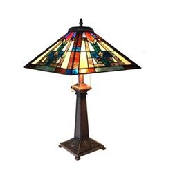 """Tiffany-style 2 Light Mission Table Lamp 16"""" Shade"""