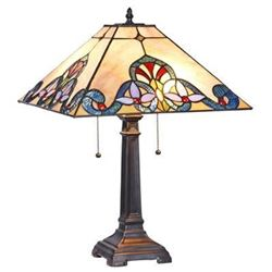 """Tiffany-style Victorian 2 Light Table Lamp 16"""" Wide"""
