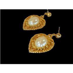 Vintage Gold Plate Faux Pearl Heart Earrings