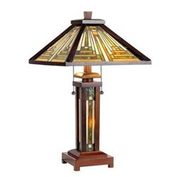"""Tiffany-style Mission 3 Light Double Lit Wooden Table Lamp 15"""" Shade"""
