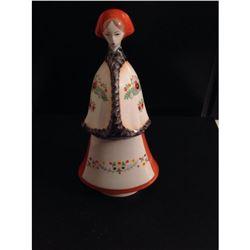 Vintage Hungarian Porcelain Peasant Woman Figurine