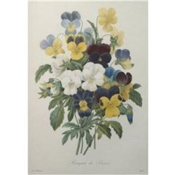After Pierre-Jospeh Redoute, Floral Print, #97 Bouquet de Pansees (Pansies)