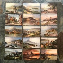 Group of Early 1900's Grand Tour Travel Postcards, Scenes Along The Rhine River, Germany