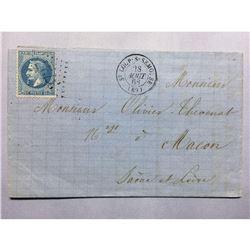 1868 French Original Postmarked Handwritten Envelope with Letter