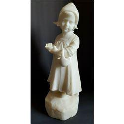 Late 19thc Signed Pochini, Alabaster Child Statue