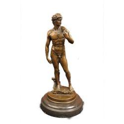 Masterpiece Renaissance of Nude David By Michelangelo Bronze Marble Sculpture NR