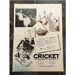 1920's French Advertisement, Cricket Sportsmen Hats