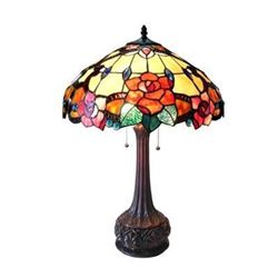 """iffany-style 2 Light Floral Table Lamp 18"""" Shade"""