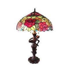 "Tiffany-style 2 Light Roses Table Lamp 18"" Shade"