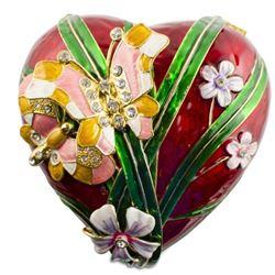 Floral Heart & Butterfly Jewel Trinket Box