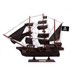 "Wooden Black Pearl Black Sails Pirate Ship Model 15"""
