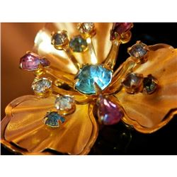 Vintage 1960's Rhinestone & Gold Tone Flower Pendant, Brooch, Necklace