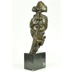 "SILENCE Abstract Bronze Mask Sculpture 18"" x 8"""