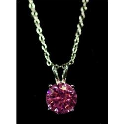Pink Sapphire Solitaire Sterling Silver Necklace