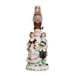 Vintage Mid Century Colonial Figural Porcelain Lamp