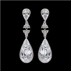 18K White Gold Plated Cubic Zirconia CZ Wedding Bridal Drop Dangle Earrings
