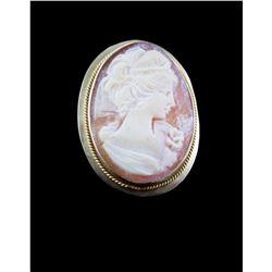 9kt Gold Shell Cameo Brooch Pin, Pendant