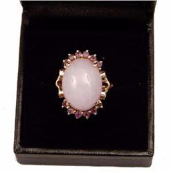 Lavender Jade & Amethyst 14kt Gold Ring