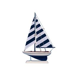 """Wooden Blue Striped Pacific Sailer Model Sailboat Decoration 17"""""""