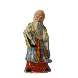 Early 20thc Chinese Famille Rose Porcelain Scholar Statue Figure
