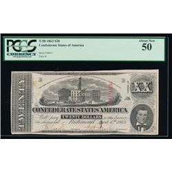 1863 $20 Confederate States of America Note PCGS 50