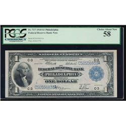 1918 $1 Philadelphia Federal Reserve Bank Note PCGS 58