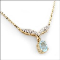 Plated 18KT Yellow Gold 3.93ct Blue Topaz and Diamond Pendant with Chain