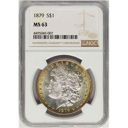 1879 $1 Morgan Silver Dollar Coin NGC MS63 Nice Toning