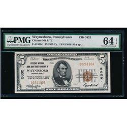 1929 $5 Pennsylvania National Bank Note PMG 64EPQ
