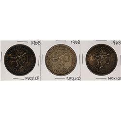 Lot of (3) 1968 Mexico 25 Pesos Olympics Commemorative Coins