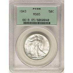 1943 Walking Liberty Half Dollar Coin PCGS MS65 Old Green Holder