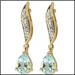 Plated 18KT Yellow Gold 2.86ctw Blue Topaz and Diamond Earrings