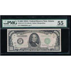 1934A $1000 Atlanta Federal Reserve Note PMG 55