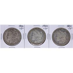 Lot of (3) 1901-S $1 Morgan Silver Dollar Coins