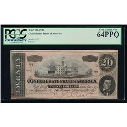1864 $20 Confederate States of America Note PCGS 64PPQ