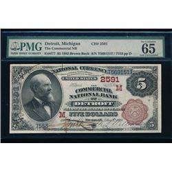 1882 $5 Detroit National Bank Note PMG 65