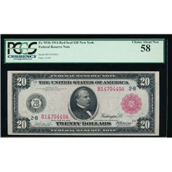 1914 $20 Red Seal Federal Reserve Note PCGS 58