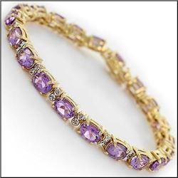 Plated 18KT Yellow Gold 13.48ctw Amethyst and Diamond Bracelet