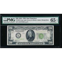 1934 $20 San Francisco Federal Reserve Note PMG 65EPQ