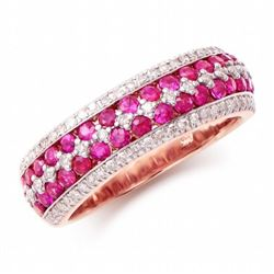 14KT Rose Gold 1.10ctw Ruby and Diamond  Ring
