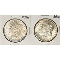 Lot of (2) 1886 $1 Morgan Silver Dollar Coins