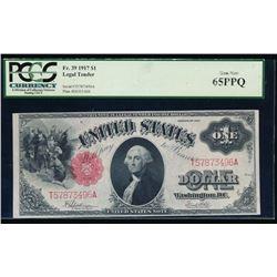 1917 $1 Legal Tender Note PCGS 65PPQ
