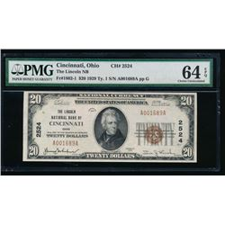 1929 $20 Cincinnati National Bank Note PMG 64EPQ