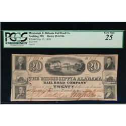 1838 $20 Rail Road Company Obsolete Note PCGS 25
